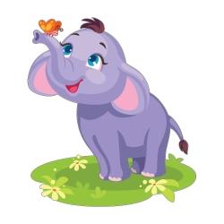 استیکر دیواری کودک مدل بچه فیل و پروانه ها کد 11