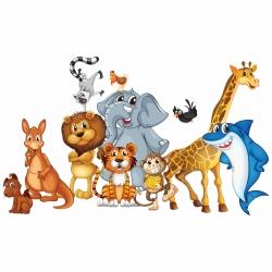 استیکر دیواری کودک طرح حیوانات شاد کد 01