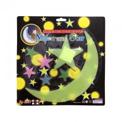 استیکر کودک طرح ماه و ستاره شب تاب کد 001 مجموعه 12 عددی
