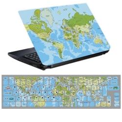 استیکر لپ تاپ طرح نقشه کد 0219-99 مناسب برای لپ تاپ 15.6 اینچ به همراه برچسب حروف فارسی کیبورد