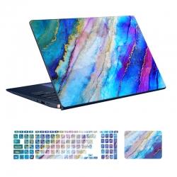 استیکر لپ تاپ توییجین و موییجین مدل Marble کد 70 مناسب لپ تاپ 15.6 اینچ به همراه برچسب حروف فارسی کیبورد