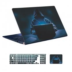 استیکر لپ تاپ توییجین و موییجین طرح Hacker کد 12 مناسب برای لپ تاپ 15.6 اینچ به همراه برچسب حروف فارسی کیبورد