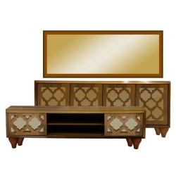 آینه و کنسول مدل لومانو به همراه میز تلویزیون