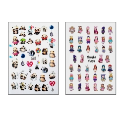 برچسب لنز ناخن مدل پاندا و عروسکی کد D28-N005 مجموعه 2 عددی