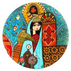 بشقاب دیوارکوب سفالی طرح مهردخت ایران کد 1046