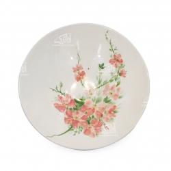 بشقاب سفالی آرانیک مدل گرد نقاشی زیر لعابیطرح گل بهاریکد1000200062 رنگ سفید