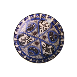 بشقاب سفالی آرانیک مدل نقاشی زیر لعابی طرح ماهورکد1000200117 رنگ آبی تیره  