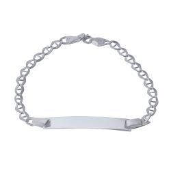 دستبند نقره زنانه بازرگانی میلادی مدل پلاک دار کد DP_009