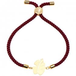 دستبند طلا 18 عیار دخترانه کرابو طرح برگ انجیر مدل Krd1286
