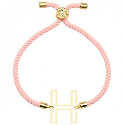دستبند طلا 18 عیار دخترانه کرابو طرح حرف H مدل Krd1685