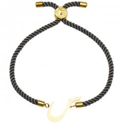 دستبند طلا 18 عیار دخترانه کرابو طرح حرف س مدل Krd1503