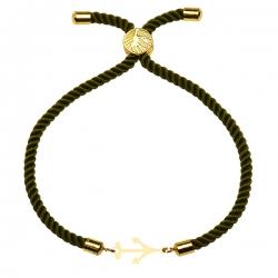 دستبند طلا 18 عیار دخترانه کرابو طرح لنگر مدل Krd1536
