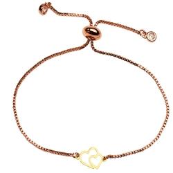 دستبند طلا 18 عیار زنانه کرابو طرح دو قلب مدل Kr1235