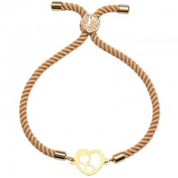 دستبند طلا 18 عیار زنانه کرابو طرح قلب مدل Kr1783