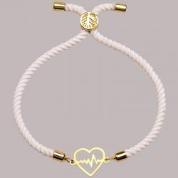 دستبند طلا 18 عیار زنانه کرابو طرح قلب و ضربان مدل Kr2177