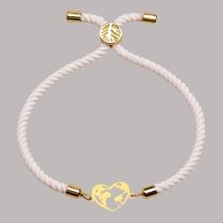 دستبند طلا 18 عیار زنانه کرابو طرح کره زمین و قلب مدل kr100144