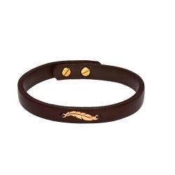 دستبند طلا 18 عیار زنانه کرابو طرح پر مدل Kr1046
