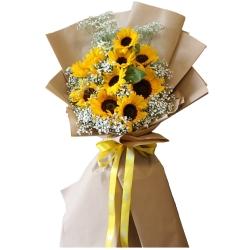 دسته گل آفتابگردان و ژیپسوفیلا گل گیفت کد GG0024