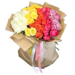 دسته گل گل گیفت طرح رنگین کمان کد GG0020