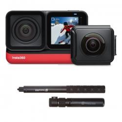 دوربین فیلم برداری ورزشی اینستا 360 مدلone r twin edition به همراه منوپاد نامرئی و سه پایه
