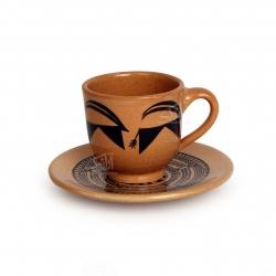 فنجان و نعلبکی سفالی نقاشی زیر لعابی قهوه ای روشن طرح بز مدل 1007800007