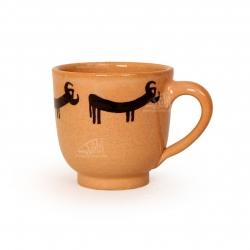 فنجان و نعلبکی سفالی نقاشی زیر لعابی قهوه ای روشن طرح گاو مدل 1007800009