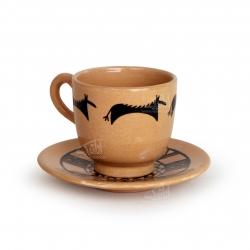 فنجان و نعلبکی سفالی نقاشی زیر لعابی قهوه ای روشن طرح حیوانی مدل 1007800008