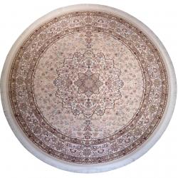 فرش ماشینی رادین اصفهان طرح گرد گل رز آرامش زمینه صدفی