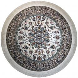 فرش ماشینی رادین اصفهان طرح گرد نائین حبیبیان رنگ زمینه صدفی