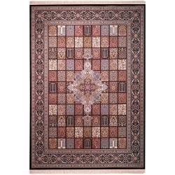 فرش ماشینی زمرد مشهد طرح خشتی مدل ترنج زمینه سورمه ای