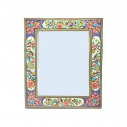 قاب آینه خاتم کاری مدل گل و مرغ برجسته کد 1068