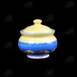 قندان سفالی بدون پایه نقاشی زیر لعابی رنگارنگ طرح ماهی مدل 1004900008