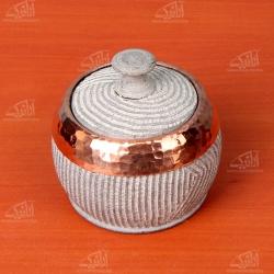 قندان سنگی تزئین با مس .رنگ خاکستری طرح طوق مدل 1004800002