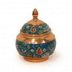 قندان مس و پرداز    رنگ آبی  طرح شاه عباسی  مدل 1004700014