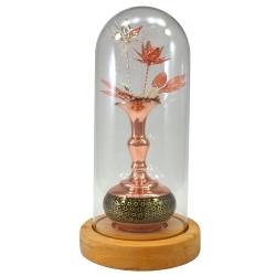 گلدان خاتم کاری مسی سلام مدل حبابی کد 16 به همراه گل
