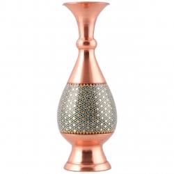 گلدان مسی خاتم کاری طرح فیروزه کوب گالری مثالین کد 141127