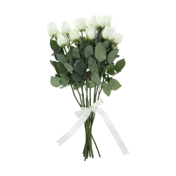 گل رز هلندی سفید  دسته 10 عددی