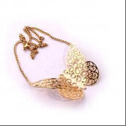 گردنبند دست ساز زنانه آرانیک مدل مشبک برنجی با آبکاری طلا کد 1510500043