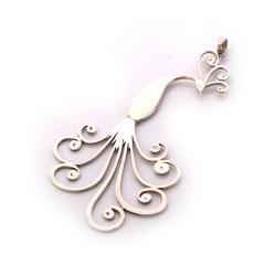 گردنبند دست ساز زنانه آرانیک مدل مشبک نقره طرح طاووس کد 1510500017
