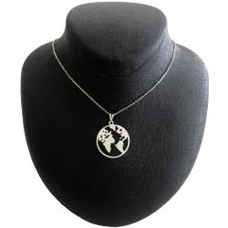 گردنبند نقره زنانه مدل کره زمین کد G-61