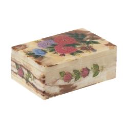 جعبه جواهرات سنگی طرح گل و مرغ مدل MR19