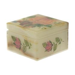 جعبه جواهرات سنگی طرح گل و مرغ مدل MR22