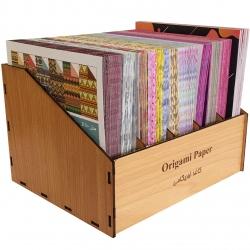 کاغذ اوریگامی کد 12 بسته 1200 عددی به همراه جعبه نگهدارنده کاغذ