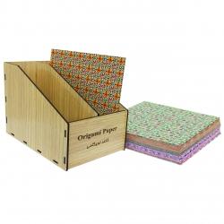کاغذ اوریگامی کد 20 بسته 120 عددی به همراه جعبه نگهدارنده کاغذ