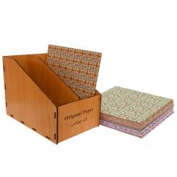 کاغذ اوریگامی کد 21 بسته 120 عددی به همراه جعبه نگهدارنده کاغذ