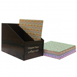 کاغذ اوریگامی کد 22 بسته 120 عددی به همراه جعبه نگهدارنده کاغذ