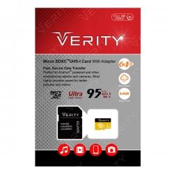 کارت حافظه microSDHC وریتی کلاس 10 استاندارد UHS-I U1 سرعت 95MBps همراه با آداپتور SD ظرفیت 64 گیگابایت