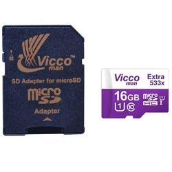 کارت حافظه microSDHC ویکومن مدل 533X کلاس 10 استاندارد UHS-I U1 سرعت 80MBps ظرفیت 16 گیگابایت به همراه آداپتور SD
