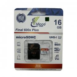 کارت حافظه microSDHC ویکومن مدل A1 V30 600X کلاس 10 استاندارد UHS-I U3 سرعت 90MBps ظرفیت 16 گیگابایت به همراه آداپتور SD