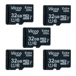 کارت حافظه  microSDHC ویکومن مدل Extre 320X کلاس 10 استاندارد UHS-I U1 سرعت48MBps ظرفیت 32 گیگابایت  بسته 5 عددی